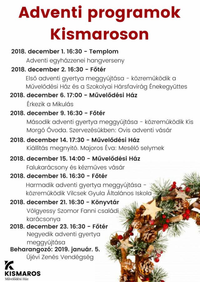 Adventi programok Kismaroson