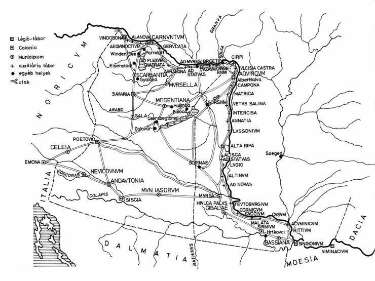 A római limes vonala Magyarországon